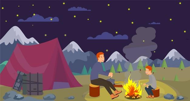 Wektor płaski noc camping ojciec przygotowuje kolację.