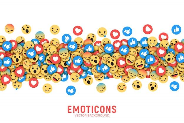 Wektor płaski nowoczesny facebook emoticons koncepcyjne streszczenie sztuka ilustracja
