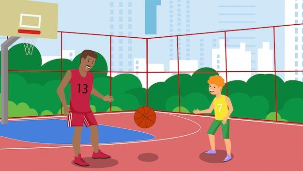 Wektor płaski ojciec w parku miejskim boisko do koszykówki.