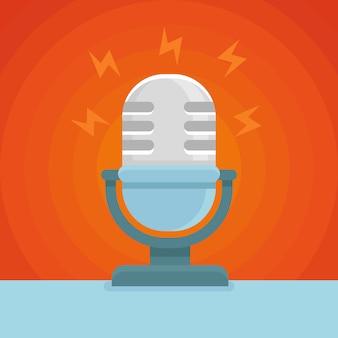 Wektor płaski styl mikrofonu