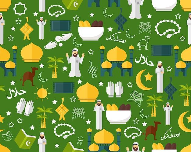 Wektor płaski tekstura wzór islamskiego muzułmańskiego.