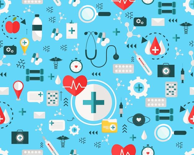 Wektor płaski tekstura wzór opieki zdrowotnej szpitala.
