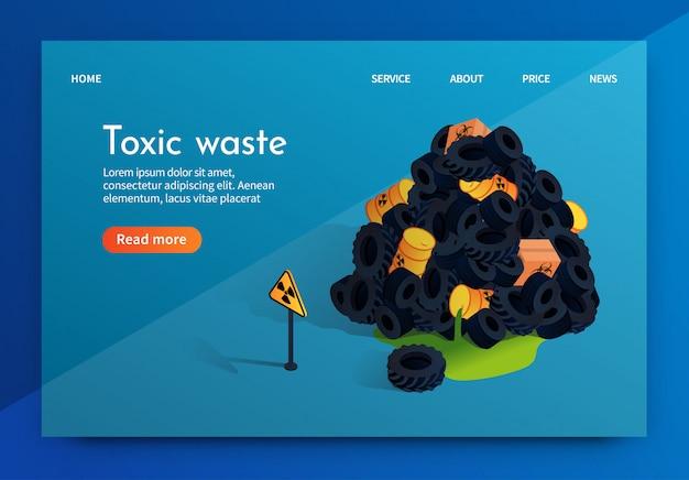 Wektor płaski transparent problem fabryki odpadów toksycznych.