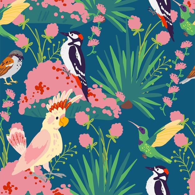 Wektor płaski tropikalny wzór z ręcznie rysowane rośliny dżungli, egzotyczne ptaki i elementy dzikiej przyrody kwiatowy na białym tle na niebieskim tle. dobry do pakowania papieru, kart, tapet, zawieszek na prezenty.