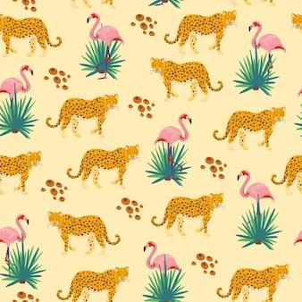 Wektor płaski tropikalny wzór z ręcznie rysowane rośliny dżungli, zwierzęta lampart, ptaki flamingo na białym tle. dobry do pakowania papieru, kart, tapet, metek upominkowych, dekoracji przedszkola itp.