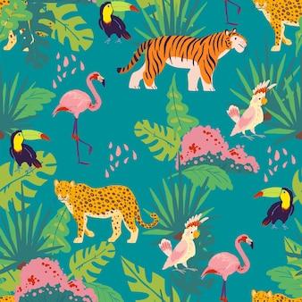 Wektor płaski tropikalny wzór z ręcznie rysowane rośliny i elementy dżungli, zwierzęta, ptaki na białym tle. tukan, flaming, tygrys. do pakowania papieru, kartek, tapet, zawieszek na prezenty, dekoracji przedszkola itp