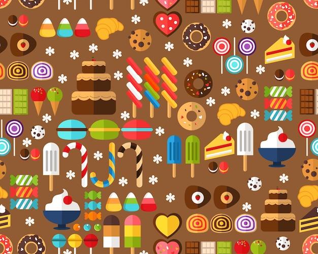Wektor płaski wzór tekstury słodyczy cukierki.