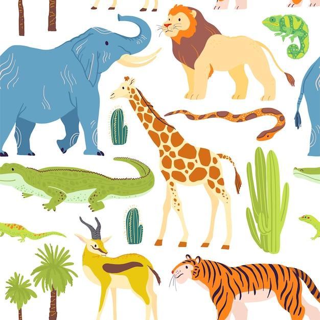 Wektor płaski wzór z ręcznie rysowane zwierzęta pustynne, gady, palmy, kaktus na białym tle. dobry do pakowania papieru, kart, tapet, metek upominkowych, dekoracji przedszkola itp.
