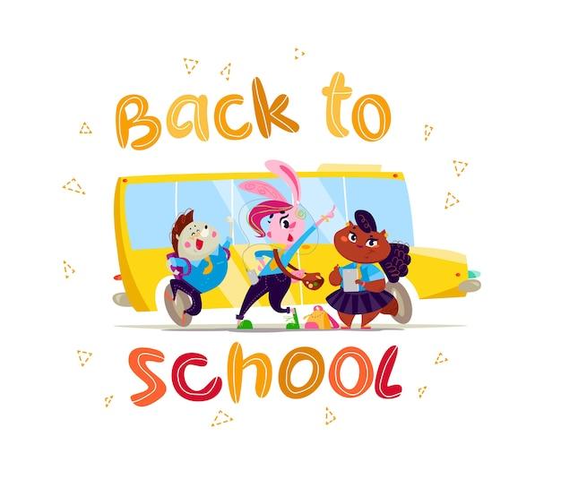 Wektor płaski zbiór szczęśliwy uczeń zwierząt stojących w autobusie szkolnym. powrót do szkoły ilustracja na białym tle. styl kreskówki, napis.
