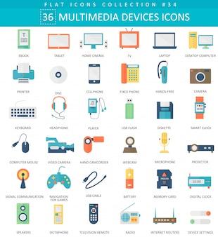 Wektor płaski zestaw ikon urządzeń multimedialnych. elegancki styl.