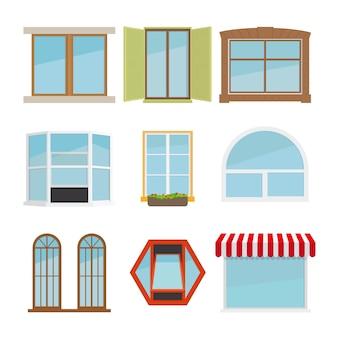 Wektor płaski zestaw okien