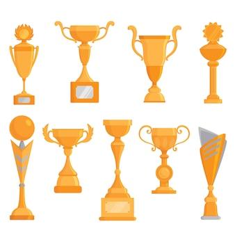 Wektor płaski złoty czara ikona zestaw w stylu płaski. nagroda dla zwycięzcy. wektorowy złoty trofeum set.