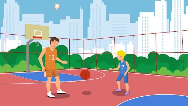 Wektor płaskie boisko do koszykówki w małym miasteczku parku.