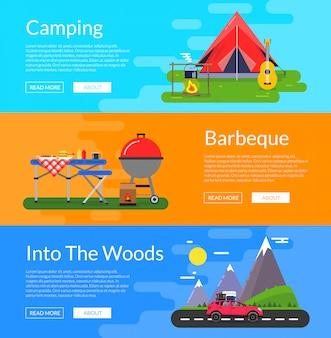 Wektor płaskie elementy camping styl poziome bannery zestaw ilustracji