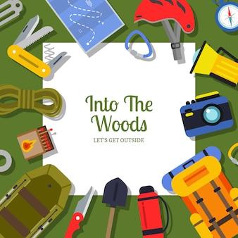Wektor płaskie elementy camping styl tło ilustracja
