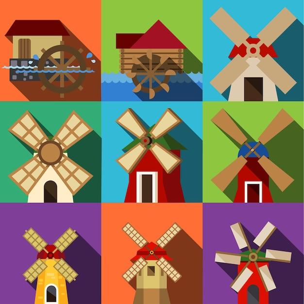 Wektor płaskie ikony młyna. prosty zestaw ilustracji składający się z 9 elementów młyna, edytowalnych ikon, może być użyty w logo, interfejsie użytkownika i projektowaniu stron internetowych