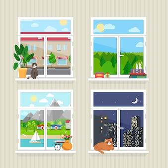 Wektor płaskie okna z krajobrazem. miasto i wieżowiec, las i kot, dzień i noc