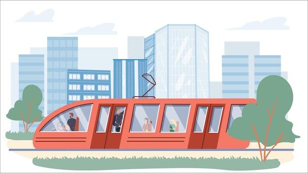 Wektor płaskie postaci z kreskówek w tramwaju. różne osoby jeżdżą w nowoczesnym wagonie, siedzą i stoją, trzymając się poręczy-web projekt banera internetowego, scena życia miasta, koncepcja historii społecznej