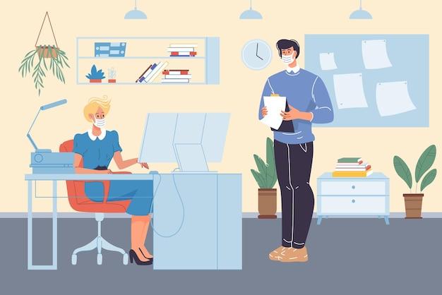 Wektor płaskie postacie z kreskówek pracowników w maskach na twarz zajęty przepływem pracy w obszarze roboczym biura
