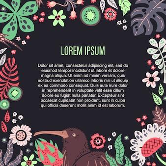 Wektor płaskie ręcznie rysowane rośliny, owoce i kwiaty. miejsce na twój tekst.