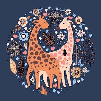 Wektor płaskie ręcznie rysowane żyrafy otoczone tropikalnymi roślinami i kwiatami.