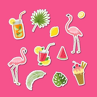 Wektor płaskie śliczne letnie elementy, koktajle, flaming, liście palmowe naklejki zestaw ilustracji