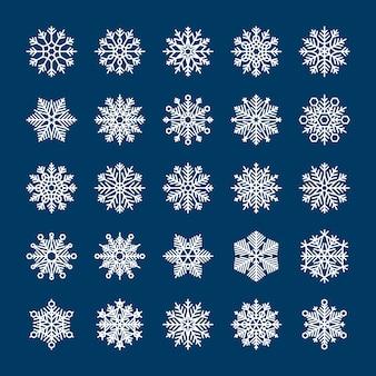Wektor płatki śniegu ustawione na zimowe wakacje zaproszenia i tła