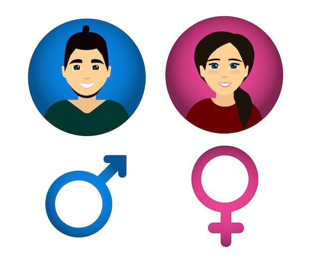 Wektor płci męskiej i żeńskiej.