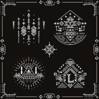 Wektor plemiennych elementów etnicznych. wzór ornament, tradycyjne modne, rodzime indyjskie azteckie ilustracja