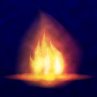 Wektor płonące ognisko gorący migoczący płomień z iskrami języki płomieni migotanie pochodni jasne b...