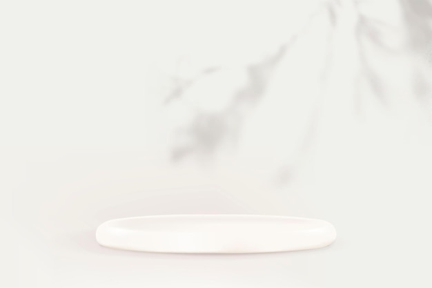 Wektor podium wyświetlacza produktu z cieniem liścia na białym tle