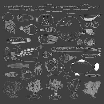 Wektor podwodnych stworzeń