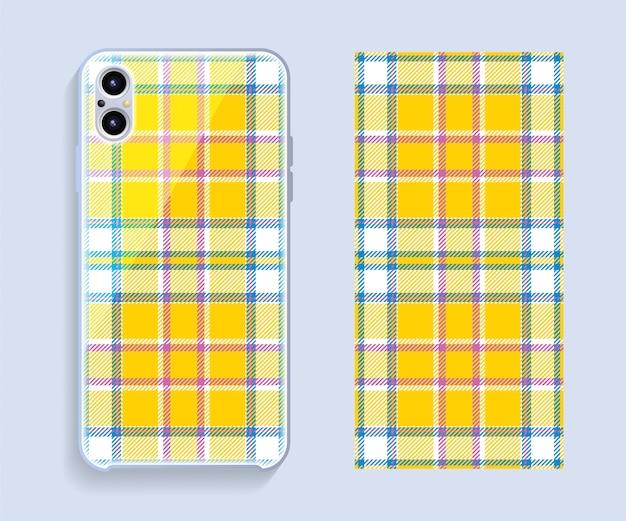 Wektor pokrycie smartfona. szablon geometryczny wzór tylnej części telefonu komórkowego