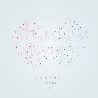 Wektor połączenie i sieć społeczną