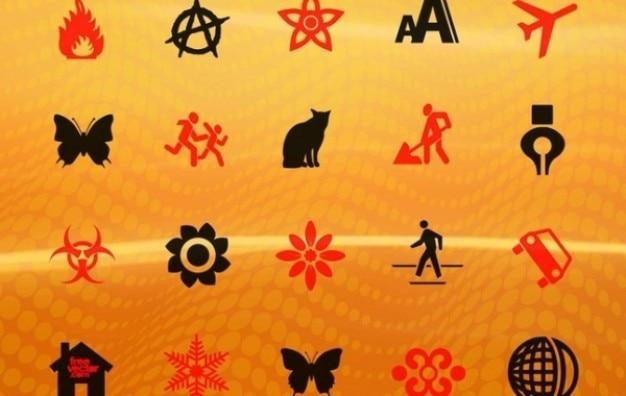 Wektor pomarańczowe tło z czerwonymi i czarnymi znakami