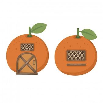 Wektor pomarańczowy dom