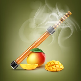 Wektor pomarańczowy elektroniczny fajka wodna z mango i dymem na tle koloru pistacji