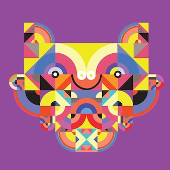 Wektor pop-artu płaskie wielokąta ilustracja głowy tygrysa