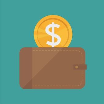 Wektor portfel i ikona złote monety - płaska konstrukcja stylu. nowoczesna, minimalistyczna ikona w stylowych kolorach. strona witryny sieci web i element wektora projektowania aplikacji mobilnej