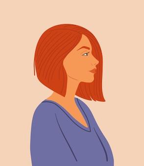 Wektor portret dziewczyny. śliczna kobieta. koncepcja międzynarodowego dnia kobiet