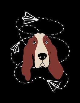 Wektor portret ilustracja kreskówka basset hound z psem i papierowymi samolotami