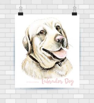 Wektor portret ręcznie rysowane psa rasy labrador retriever.