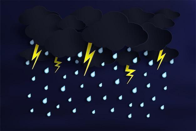 Wektor pory deszczowej i pochmurno z deszczem spada. i jest błyskawica