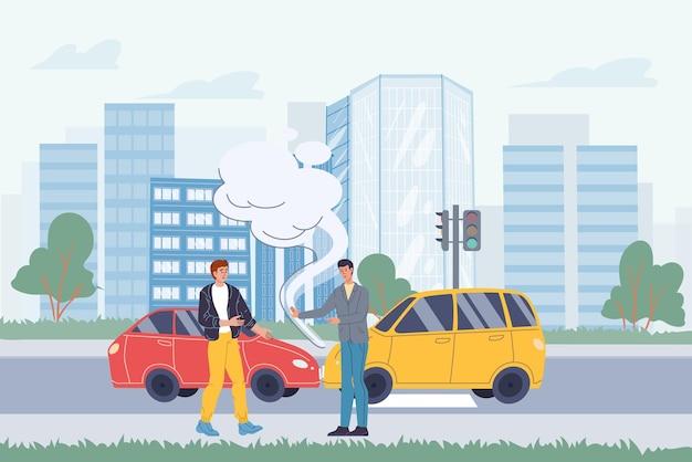Wektor postaci z kreskówek płaskich na scenie wypadku drogowego. dwa samochody zderzyły się, ich właściciele kłócą się o to, co się stało na tle pejzażu miejskiego. projektowanie banerów internetowych online, scena życia miasta, koncepcja historii społecznej