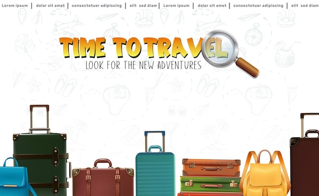 Wektor pozwala podróżować w tle z bagażem i plecakami w rzędzie