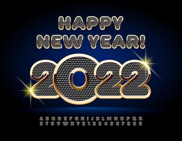 Wektor premium kartkę z życzeniami szczęśliwego nowego roku 2022 czarno-złoty zestaw liter alfabetu i cyfr