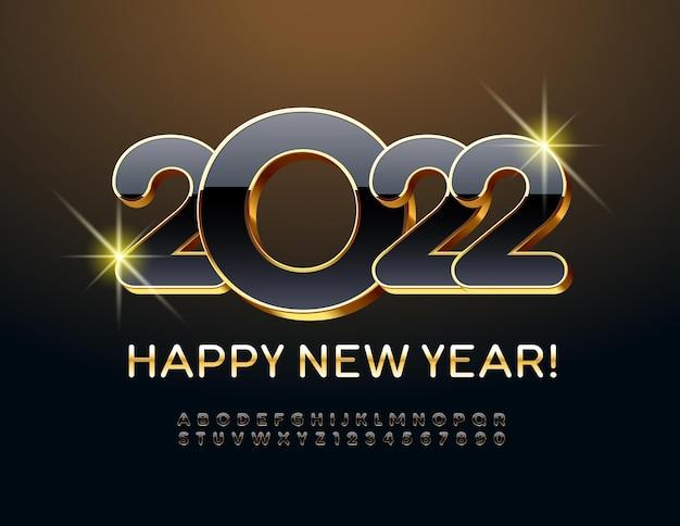 Wektor premium kartkę z życzeniami szczęśliwego nowego roku 2022 złoty i czarny zestaw liter alfabetu i cyfr