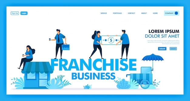 Wektor projekt systemu biznesowego franczyzy dla otwartego sklepu detalicznego