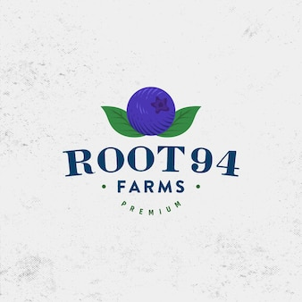 Wektor projektowania logo farmy borówki premium vintage