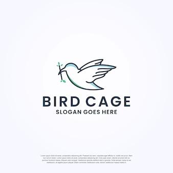 Wektor projektowania logo klatki dla ptaków